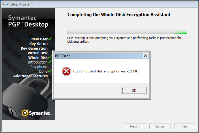 Could not start disk encryption err -12000.