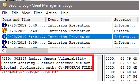 SEP Client Security Log showing audit signature traffic detected but not blocked.